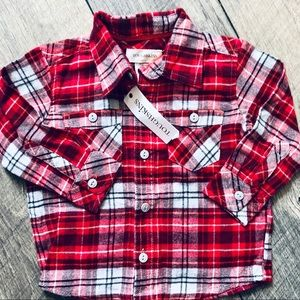 NWT Toughskins Red flannel Plaid Button down 18mo